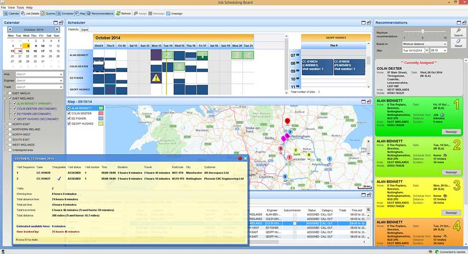 screenshot of job scheduling board for engineers from exel