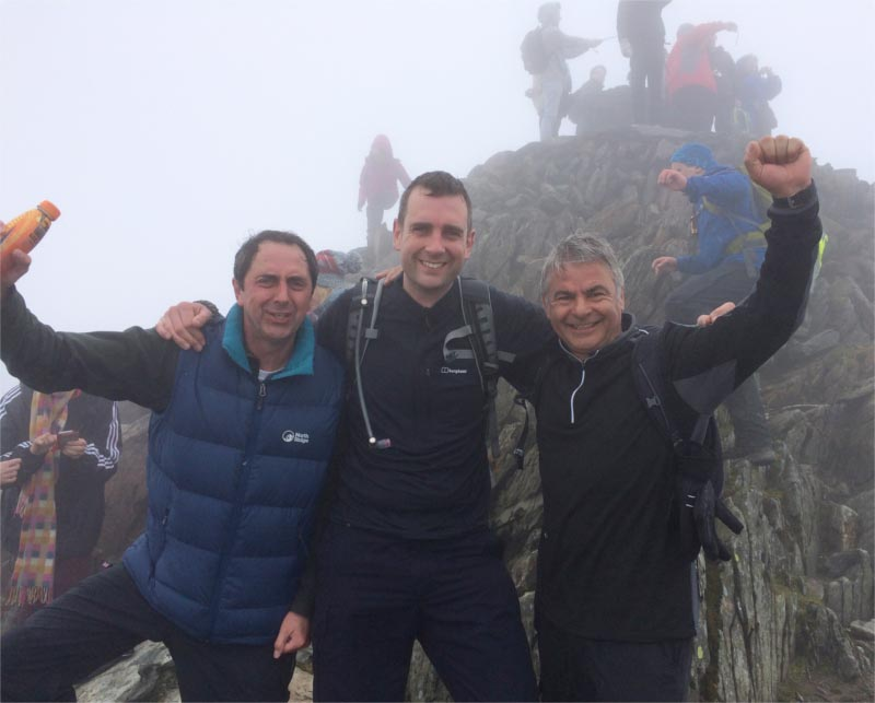 John Waddington Chris Brown PEGL and Darrell Fone Exel on Mount Snowdon