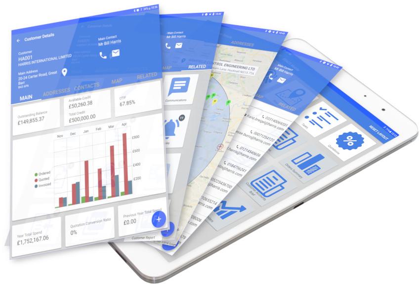 Mobile CRM multi screenshots on tablet